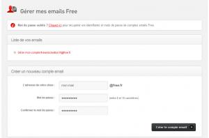 Création du compte mail